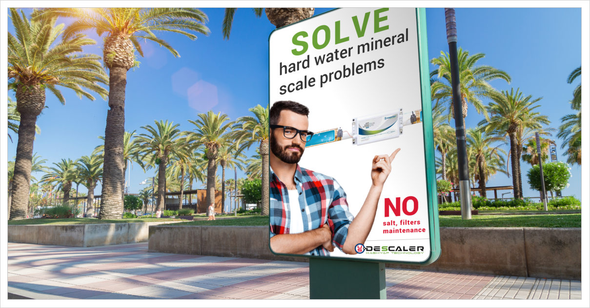 solve hard water mineral scale problems outdoor billboard